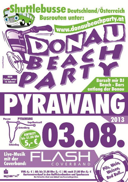 Flyer Donau Beach Party Pyrawang 2013