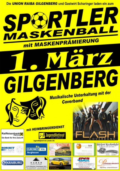 Flyer Sportler-Maskenball Gilgenberg 2014
