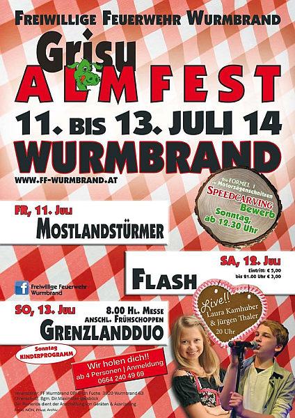 Flyer Grisu Almfest Wurmbrand 2014