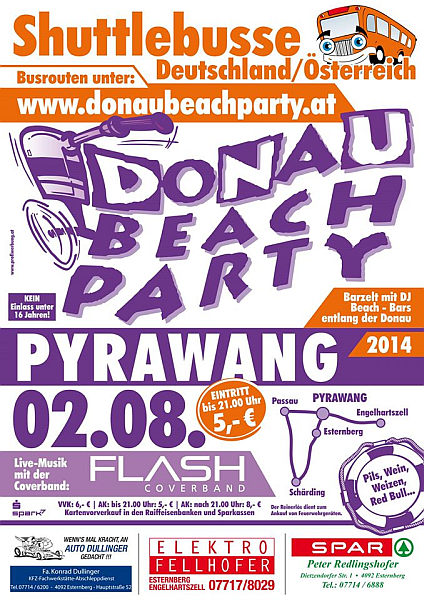 Flyer Donau Beach Party Pyrawang 2014