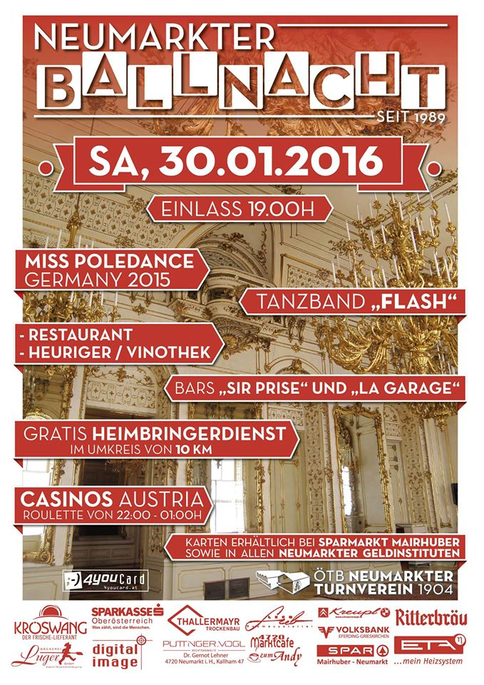 Samstag 30.1.2016: Neumarkter Ballnacht mit Flash