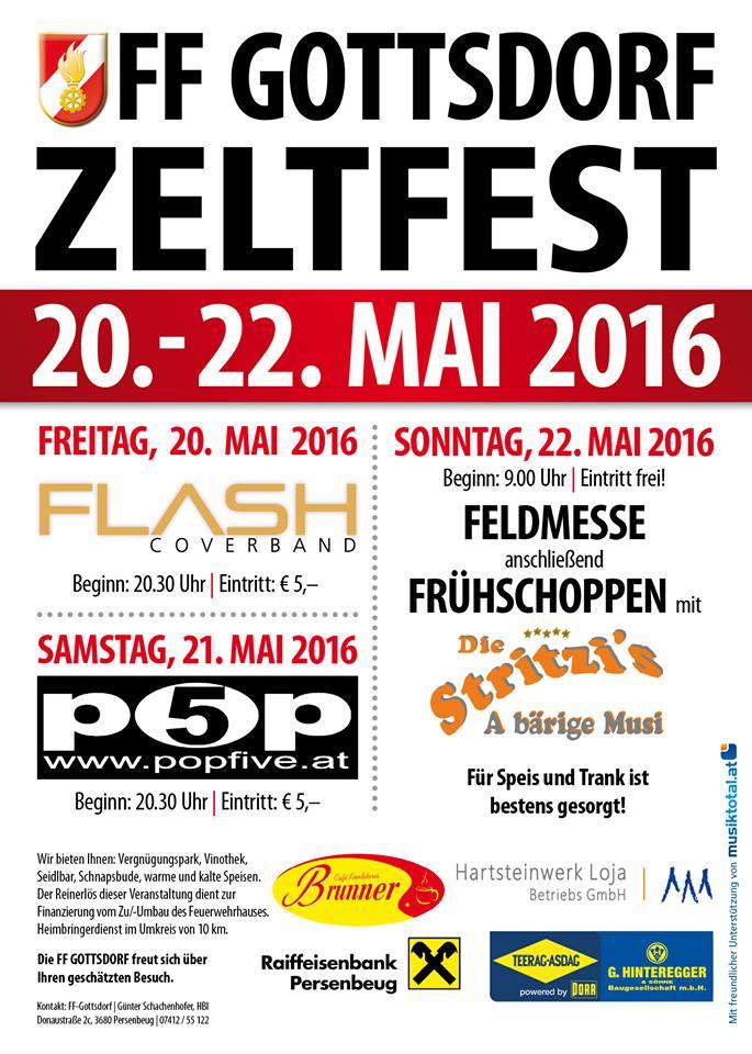 Nächsten Freitag: Flash live am Zeltfest der FF Gottsdorf