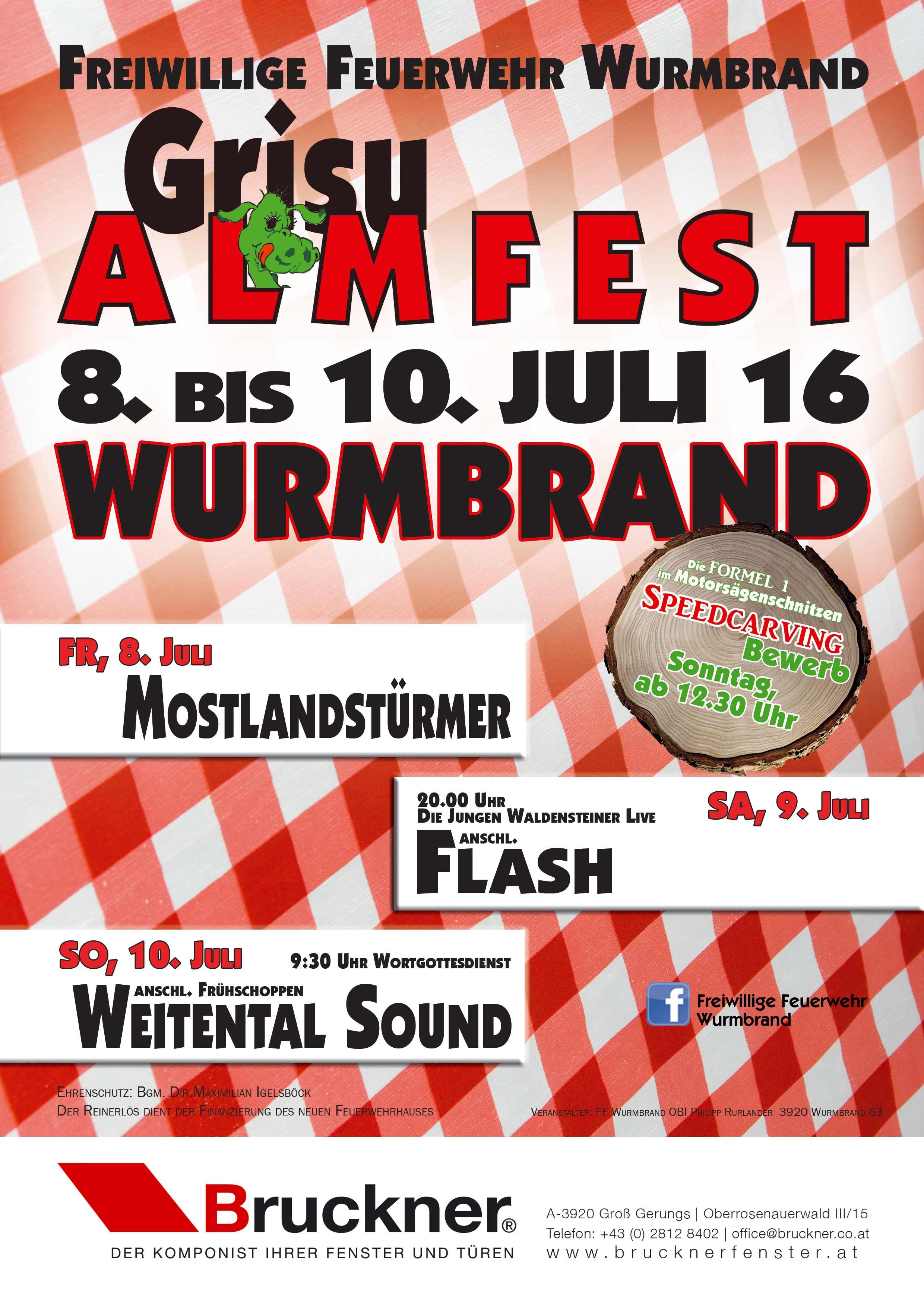 Nächsten Samstag: Grisu Almfest in Wurmbrand mit Flash