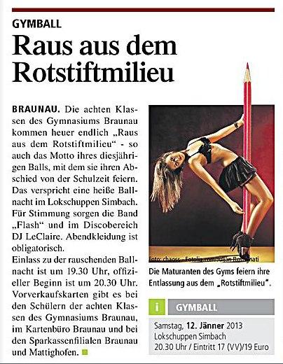 Zeitungsbericht zum Maturaball des BG Braunau mit Flash