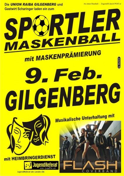 Flyer Sportler Maskenball Gilgenberg 2013