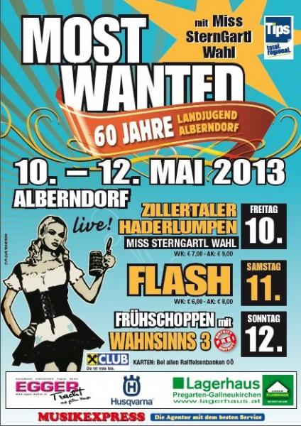 Flyer für das Zeltfest Most Wanted (60 Jahre Landjugend) in Alberndorf