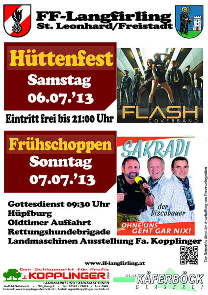 Flyer Hüttenfest Langfirling 2013