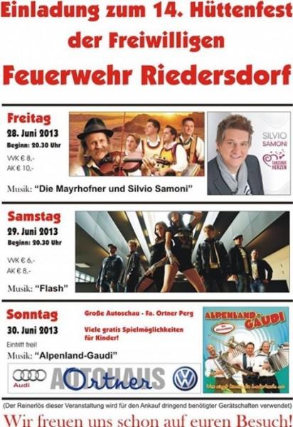 Flyer Hüttenfest Riedersdorf