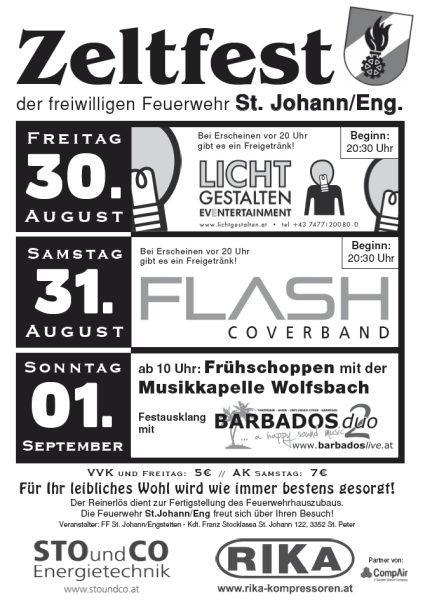 Flyer Zeltfest St. Johann in Engstetten
