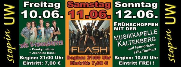 Am Samstag: Flash live am Zeltfest Stop in UW