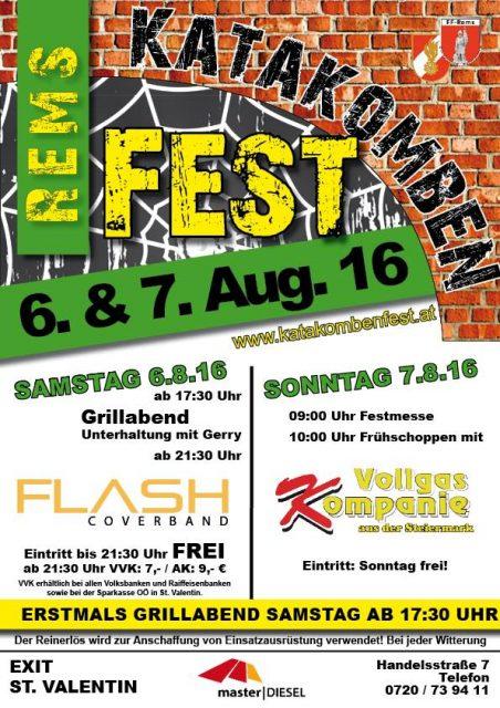 Nächsten Samstag: Flash live am Katakombenfest Rems