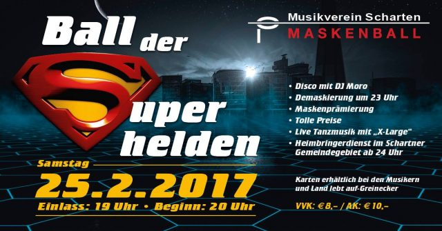 Am Faschingssamstag: Flash live am Ball der Superhelden in Scharten